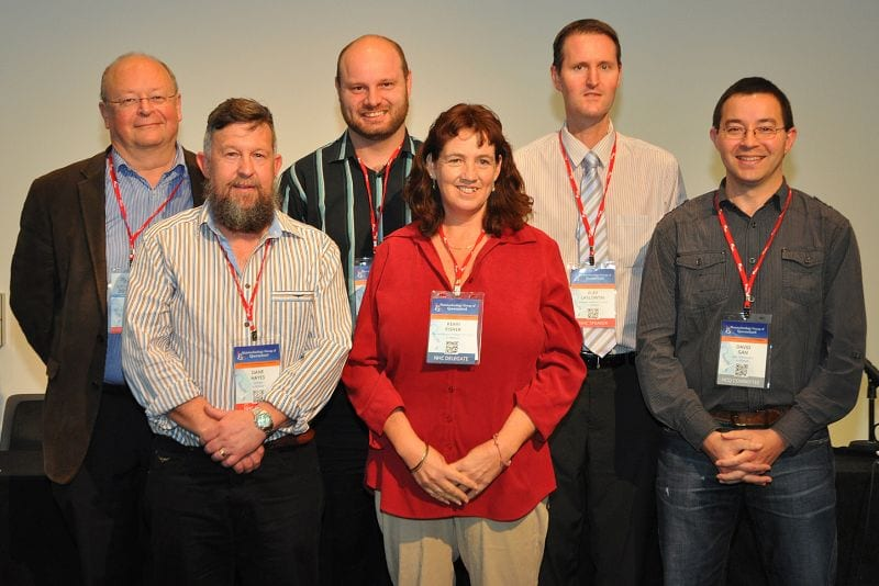 National Histotechnology Conference Speakers: L to R: William Murray (VIC), Dane Hayes (TAS), Anthony van Zwieten (Pres Qld Histotechnology Group and organiser of the Conference), Kerri Fisher (NSW), Alex Laslowski (VIC), David Gan (QLD)